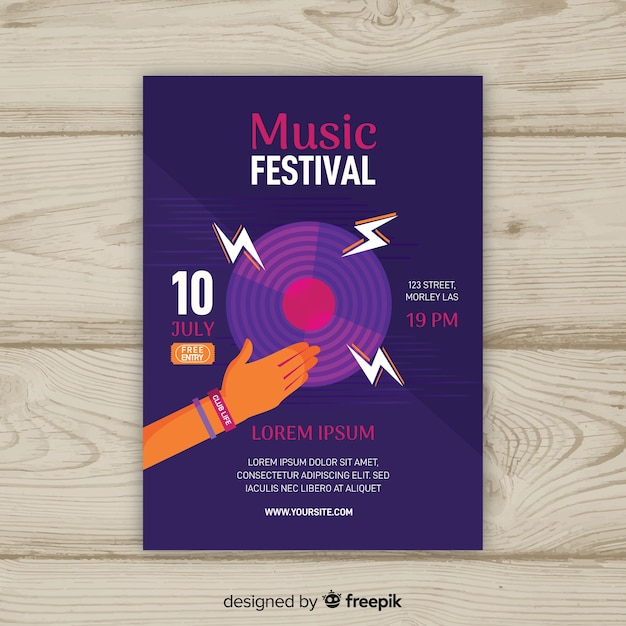 Plantilla de poster de festival de música dibujado a mano vector gratuito