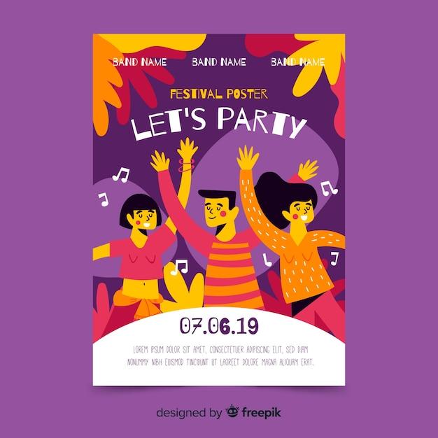 Plantilla de póster de festival de música dibujado a mano vector gratuito