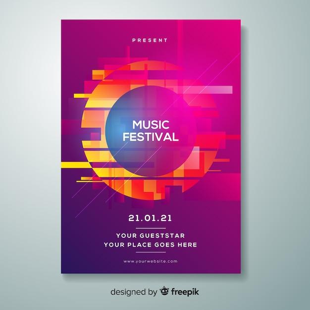 Plantilla de poster de festival de música con distorsión vector gratuito