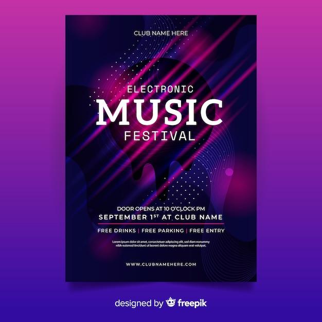 Plantilla de poster de festival de música electrónica vector gratuito