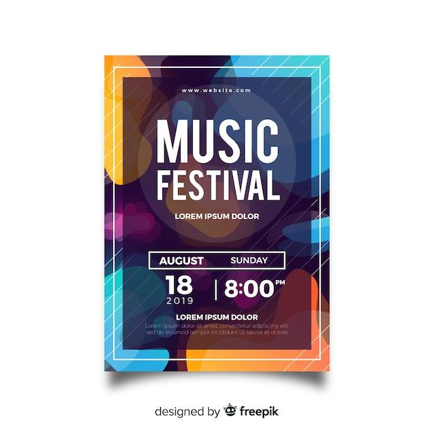 Plantilla de póster de festival de música con formas líquidas vector gratuito