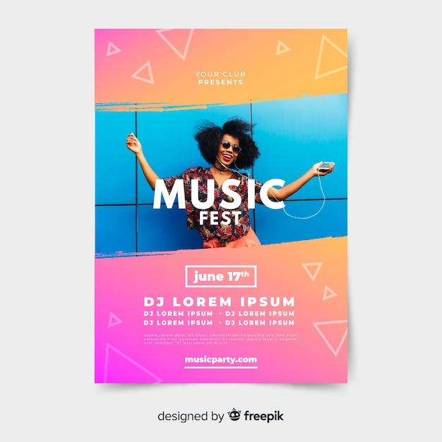 Plantilla de poster de festival de música con imagen vector gratuito
