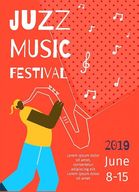 Plantilla de póster - festival de música de jazz Vector Premium
