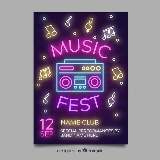 Plantilla de póster de festival de música con luz neón vector gratuito