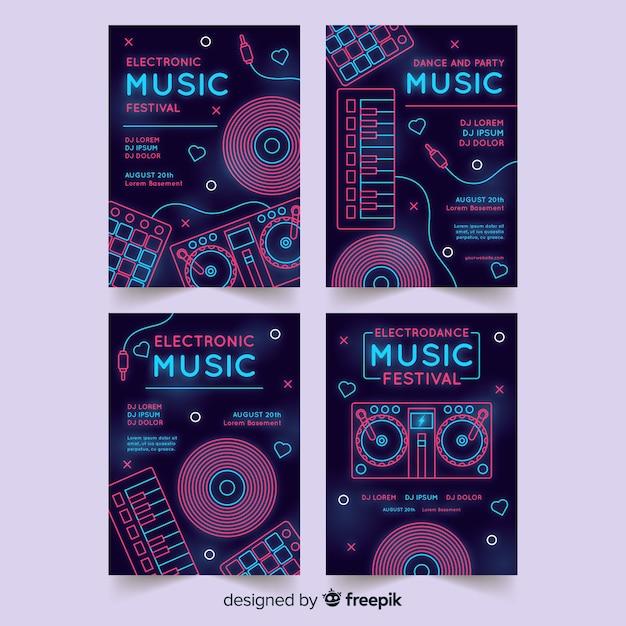 Plantilla de póster del festival de música de neón vector gratuito