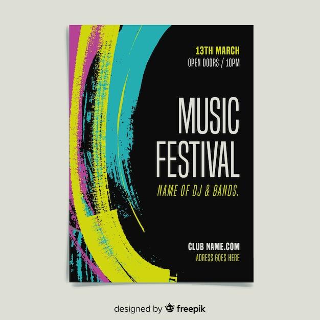 Plantilla de poster de festival de música con pintura vector gratuito