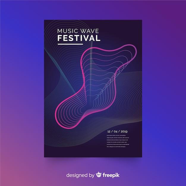 Plantilla de poster de festival de música vector gratuito