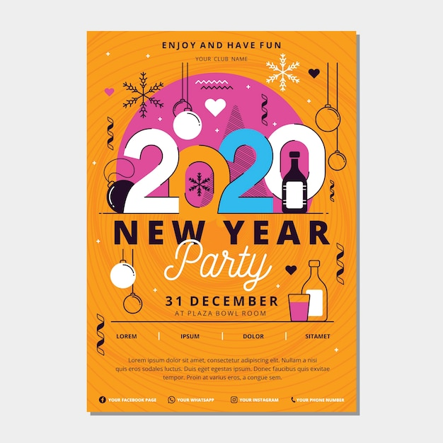 Plantilla de póster de fiesta de año nuevo 2020 en diseño plano vector gratuito