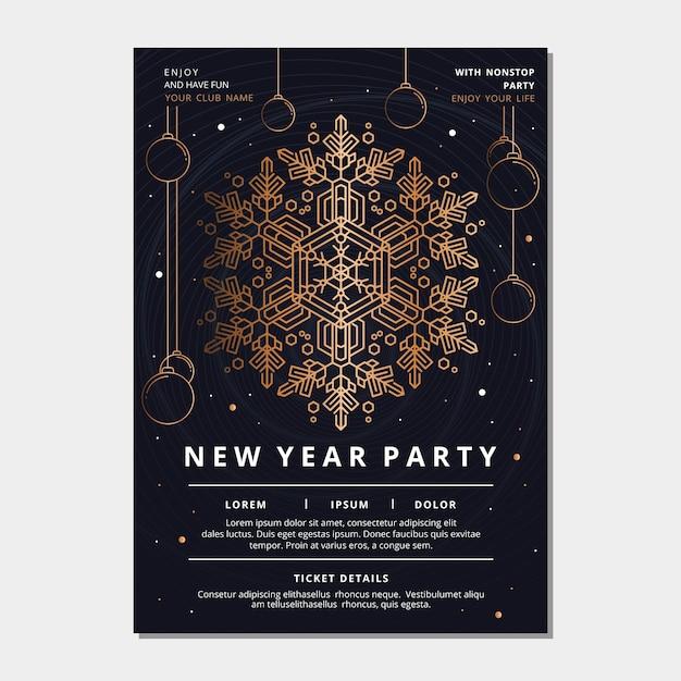 Plantilla de póster de fiesta de año nuevo en estilo de contorno vector gratuito
