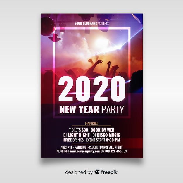 Plantilla de póster de fiesta de año nuevo con foto vector gratuito