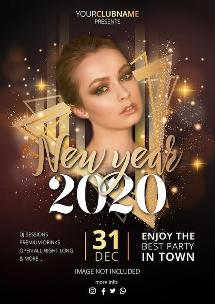 Plantilla de póster de fiesta de año nuevo de lujo vector gratuito