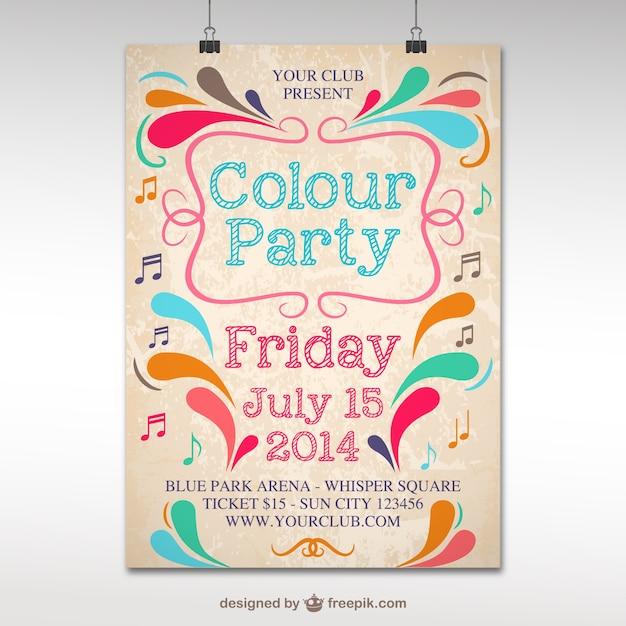 Plantilla de póster para fiesta de colores vector gratuito
