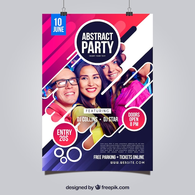 Plantilla de póster de fiesta con estilo abstracto vector gratuito