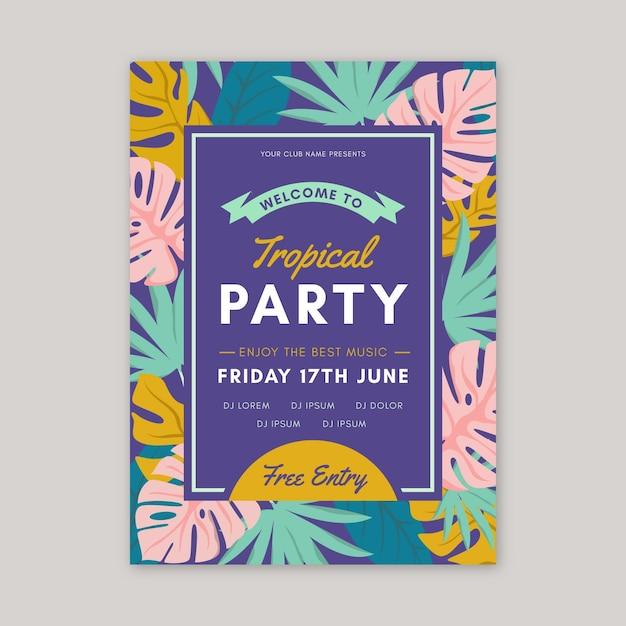 Plantilla de póster de fiesta de estilo tropical vector gratuito