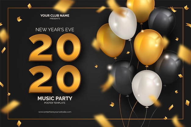 Plantilla de póster de fiesta de fin de año con globos vector gratuito