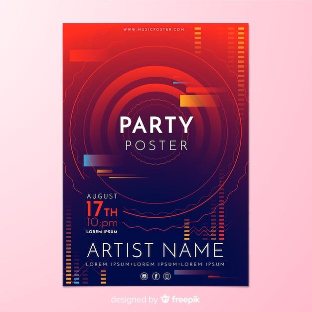 Plantilla de poster de fiesta con forma abstracta vector gratuito