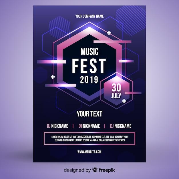Plantilla de póster de fiesta con formas abstractas vector gratuito
