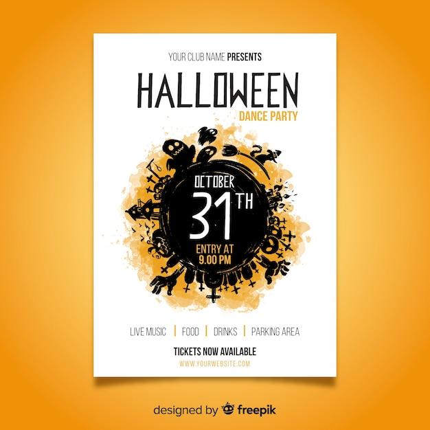 Plantilla de póster de fiesta de halloween de acuarela vector gratuito