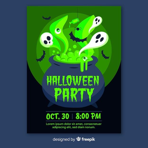 Plantilla de póster de fiesta de halloween en diseño plano vector gratuito