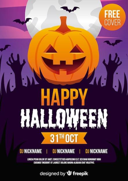 Plantilla de póster de fiesta de halloween con manos de calabaza y zombie Vector Premium
