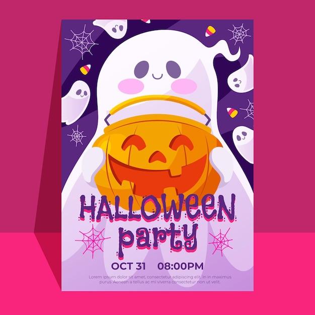 Plantilla de póster de fiesta de halloween vector gratuito