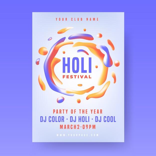 Plantilla de póster de fiesta holi con diseño líquido colorido vector gratuito