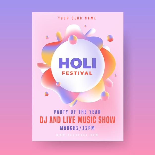 Plantilla de póster de fiesta holi con diseño de pintura de marco vector gratuito