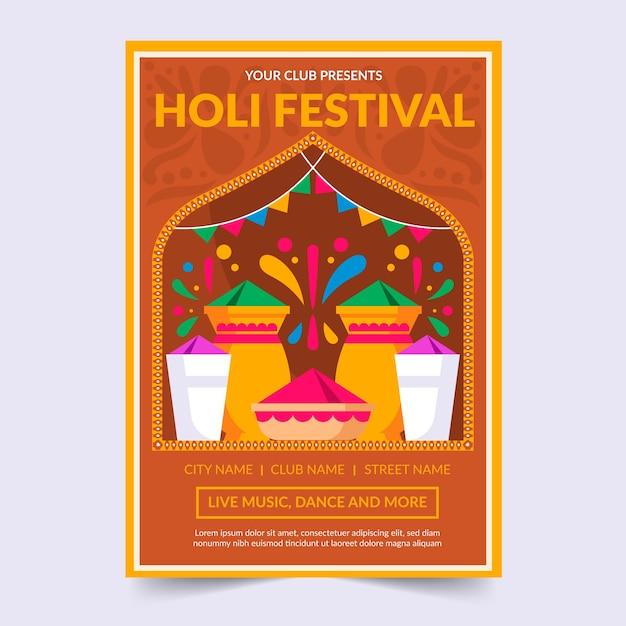 Plantilla de póster de fiesta holi festival vector gratuito