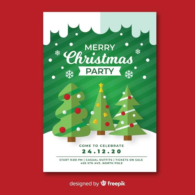 Plantilla de póster de fiesta de navidad con árboles de navidad en diseño plano vector gratuito