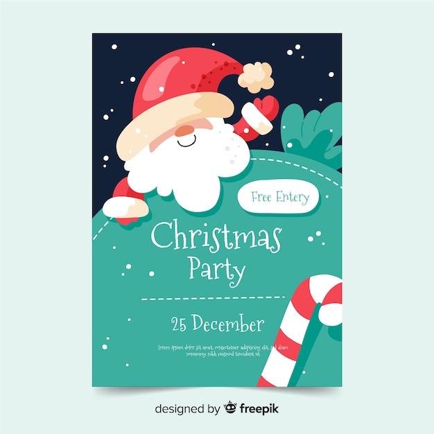 Plantilla de póster de fiesta de navidad en diseño plano vector gratuito
