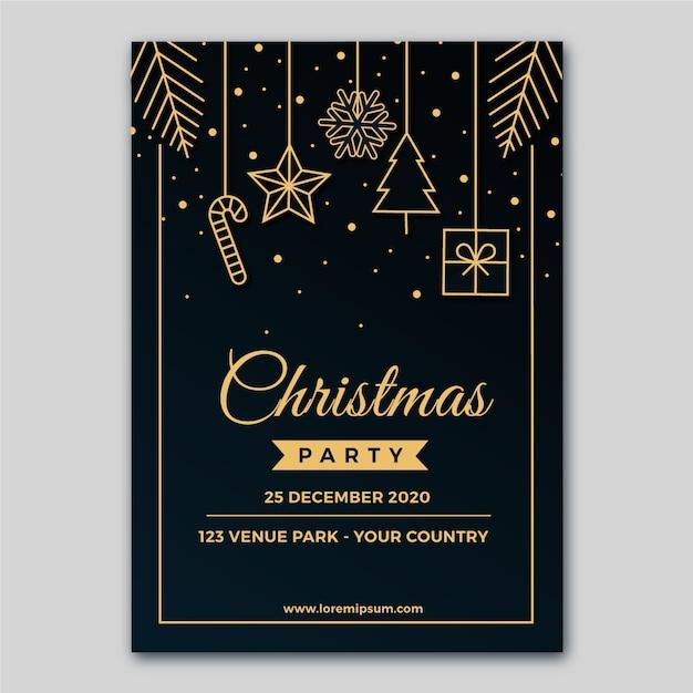 Plantilla de póster de fiesta de navidad en estilo de contorno vector gratuito