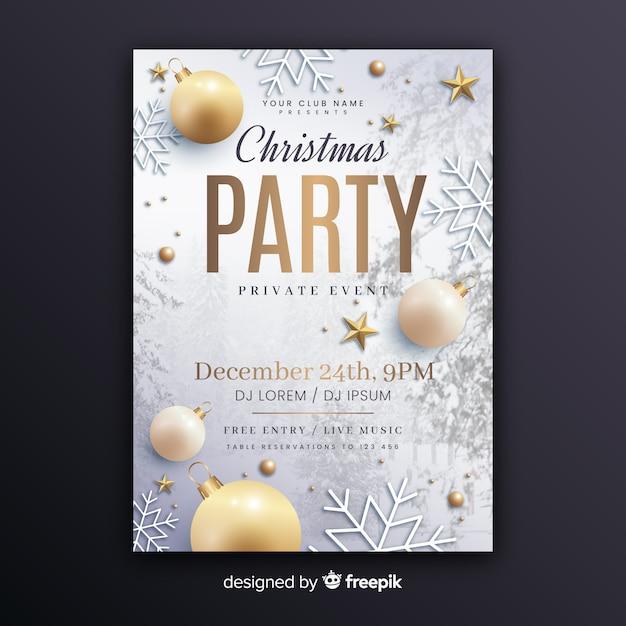 Plantilla de póster de fiesta de navidad con foto vector gratuito