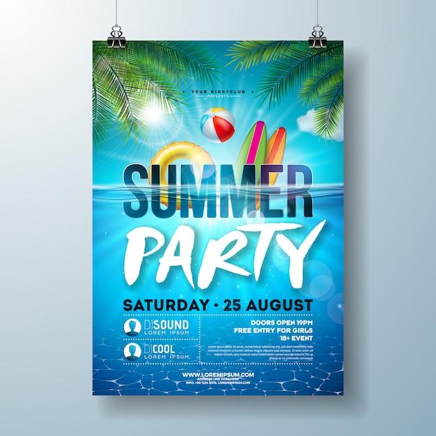 Plantilla de póster de fiesta en la piscina de verano con hojas de palmera y paisaje del océano azul vector gratuito