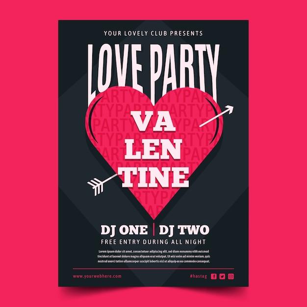 Plantilla de póster de fiesta de san valentín en diseño plano vector gratuito