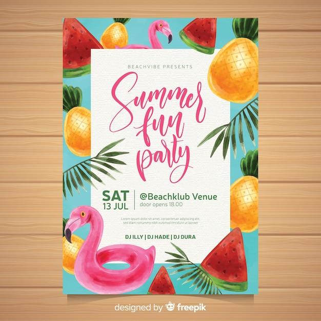 Plantilla de poster de fiesta de verano en acuarela vector gratuito