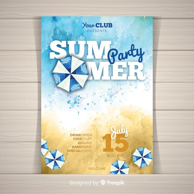 Plantilla de póster de fiesta de verano en acuarela vector gratuito