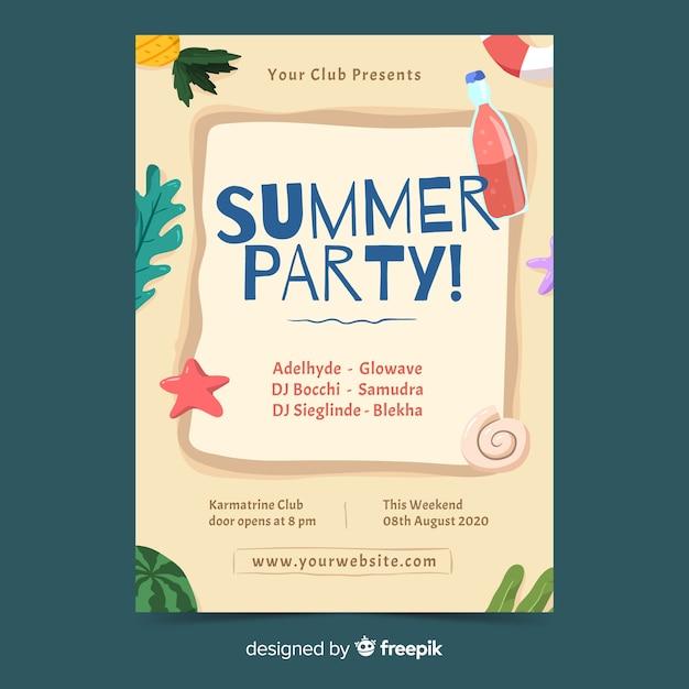 Plantilla de póster de fiesta de verano dibujada a mano vector gratuito