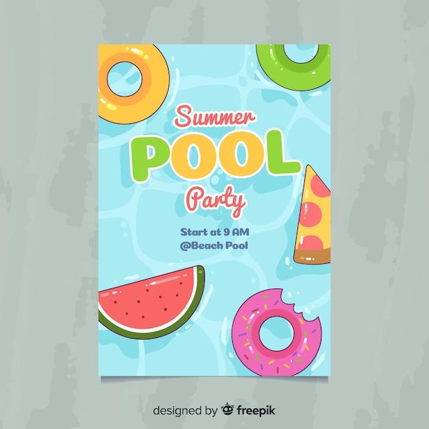 Plantilla de poster de fiesta de verano dibujado a mano vector gratuito