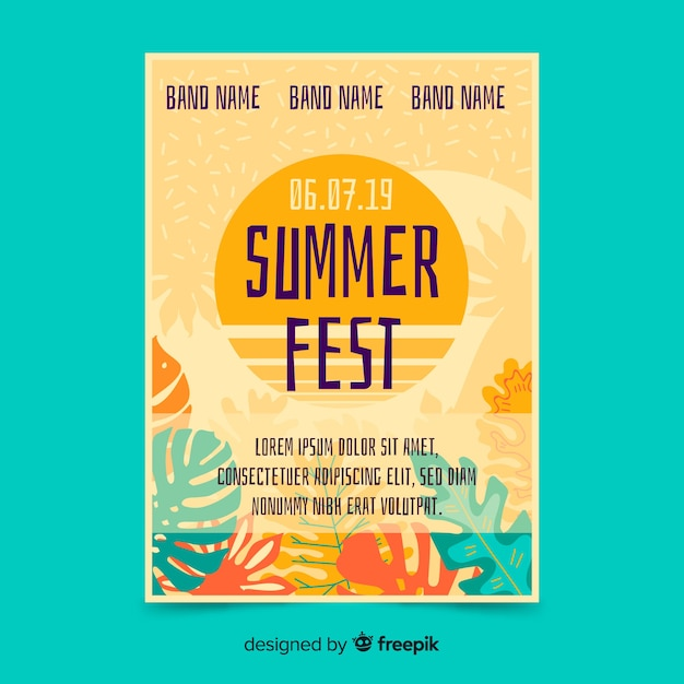 Plantilla de póster de fiesta de verano dibujado a mano vector gratuito