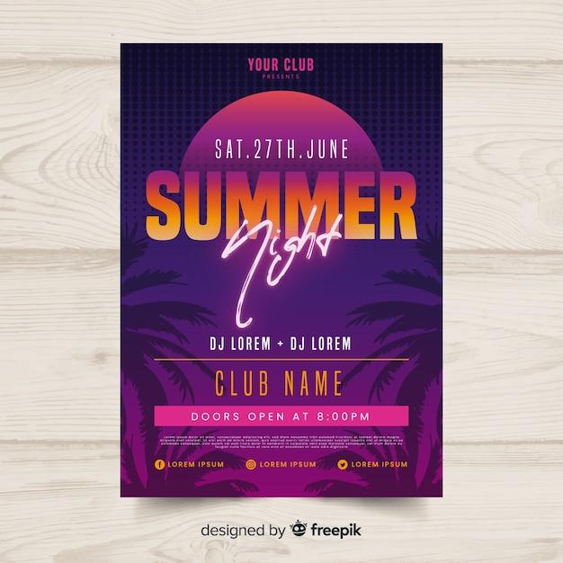 Plantilla de poster de fiesta de verano en diseño plano vector gratuito