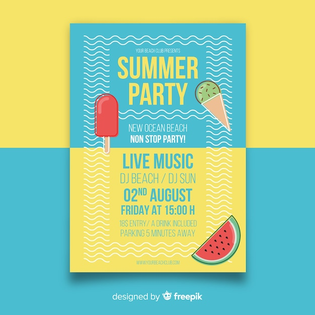 Plantilla de póster de fiesta de verano en diseño plano vector gratuito
