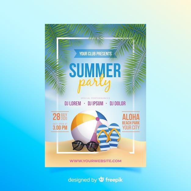 Plantilla de póster de fiesta de verano realista vector gratuito