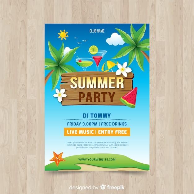 Plantilla de póster de fiesta de verano vector gratuito