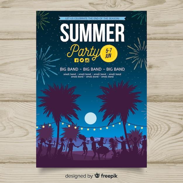Plantilla de poster de fiesta de verano vector gratuito