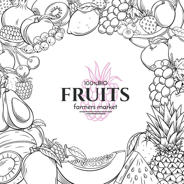 Plantilla de póster con frutas dibujadas a mano para Vector Premium