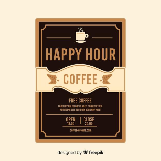 Plantilla de póster de happy hour de café delicioso vector gratuito