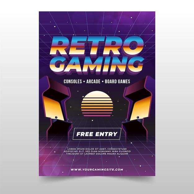 Plantilla de póster de juegos retro vector gratuito