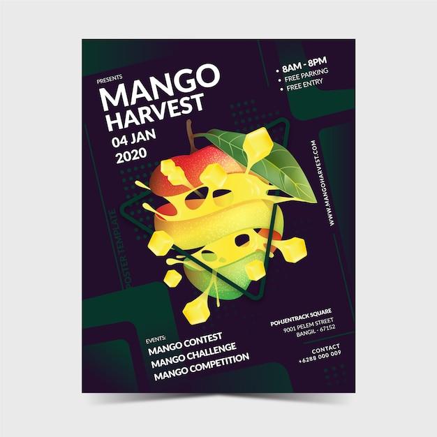 Plantilla de póster de mango Vector Premium