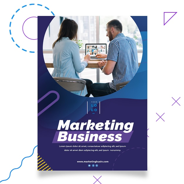 Plantilla de póster de marketing comercial Vector Premium