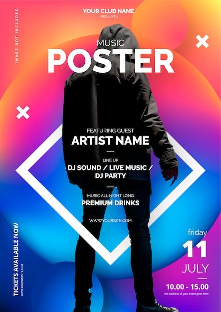 Plantilla de póster de música abstracta vector gratuito